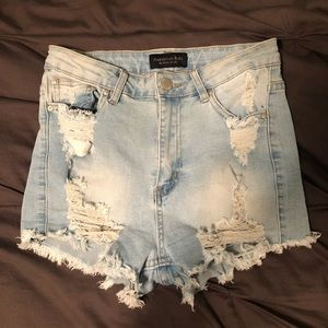 American Bazi Light Blue Wash Denim Shorts